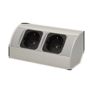Gniazdo meblowe bez wyłącznika 2x2P+Z, srebrne - wersja Schuko