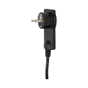 Flat plug with handle and cable, black