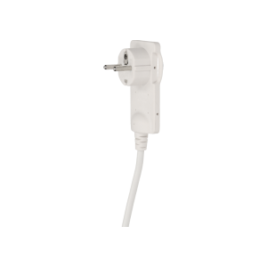 Flat plug with handle and cable, white