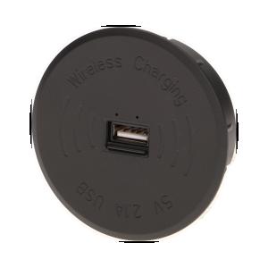 Bezprzewodowa ładowarka indukcyjna z dodatkowym portem USB, czarna