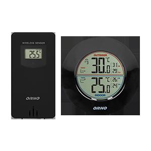 Bezprzewodowa stacja pogodowa z pomiarem temperatury zewnętrznej i wewnętrznej, czarna