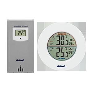 Bezprzewodowa stacja pogodowa z pomiarem temperatury zewnętrznej i wewnętrznej, biało-szara