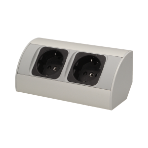 Möbel-Steckdose ohne Schalter 2x2P+Z, Schuko Variante
