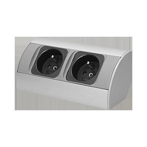 Möbel-Steckdose ohne Schalter 2x2P+Z, silber