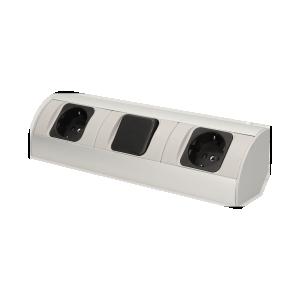 Möbel-Steckdose mit Schalter,  Schuko Variante, 2x2P+Z