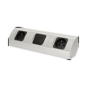 Möbel-Steckdose mit Schalter, 2x2P+Z