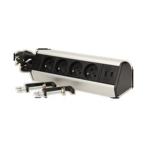 Möbel-Steckdose mit Schraubklemmen,USB-Ladegerät und 1,8 m Kabel, 4x2P+Z