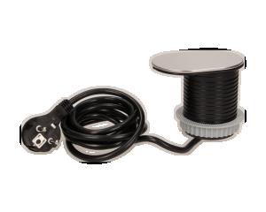 Gniazdo meblowe wpuszczane w blat 1x2P+Z z przesuwaną pokrywką, ładowarką USB i przewodem 1,9m