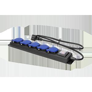 Przedłużacz warsztatowy bryzgoszczelny z wyłącznikiem, 5 gniazd 2P+Z, IP44, przewód gumowy, H05RR-F 3x1,5mm2, długość 5m
