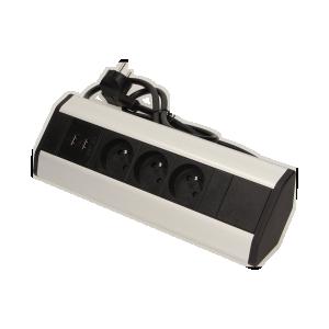Möbel-Steckdose mit USB-Ladegerät und 1,8 m Kabel, 3x2P+Z