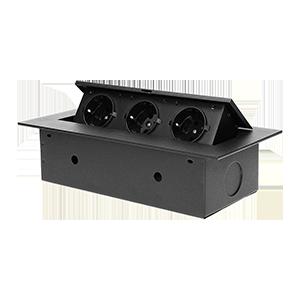 Recessed furniture socket with flat edge, 3x2P+E (Schuko), black