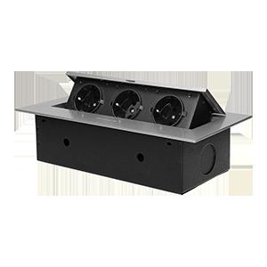 Recessed furniture socket with flat edge, 3x2P+E (Schuko), silver