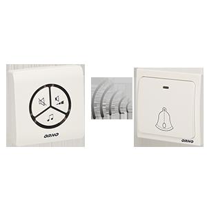 SMARTEK AC dzwonek bezprzewodowy, 230V z learning system i bezbateryjnym przyciskiem