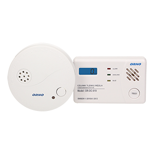 Battery operated carbon monoxide and smoke detector set