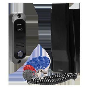 Zestaw domofonowy jednorodzinny z interkomem i czytnikiem breloków zbliżeniowych, czarny AVIOR