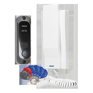 Zestaw domofonowy jednorodzinny z interkomem i czytnikiem breloków zbliżeniowych, biały AVIOR