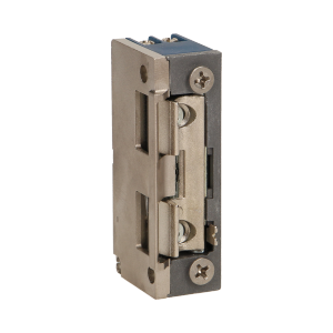 Elektrozaczep symetryczny z prowadnicą i blokadą, MINI, NISKOPRĄDOWY 280mA dla 12VDC