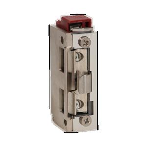 Elektrozaczep symetryczny z prowadnicą i sygnalizacją niedomkniętych drzwi, rewersyjny, MINI, NISKOPRĄDOWY 280mA dla 12VDC