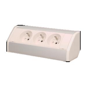 Möbel-Steckdose 3x2P+Z, weiß-silber