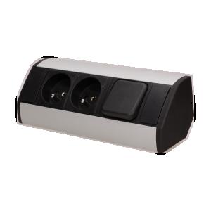 Möbel-Steckdose mit Schalter, 2x2P+Z, schawarz-silber