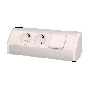 Möbel-Steckdose mit Schalter, 2x2P+Z, Schuko Version , weiß