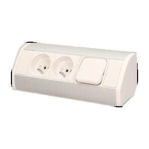 Möbel-Steckdose mit Schalter, 2x2P+Z, weiß-silber