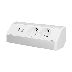 Möbel-Steckdose,2x2P+Z+USB, Schuko Version, weiß-silber