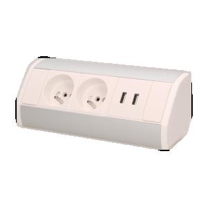 Möbel-Steckdose,2x2P+Z+USB, weiß-silber