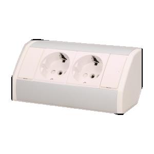 Möbel-Steckdose 2x2P+Z, Schuko Version, weiß-silber