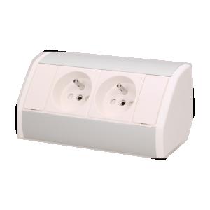 Möbel-Steckdose 2x2P+Z, weiß-silber