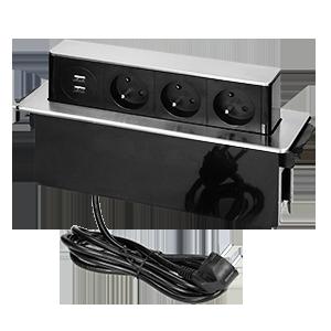 Gniazdo meblowe wysuwane z blatu z płaskim frezowanym rantem, ładowarką USB i przewodem 2m,  3 gniazda typ E, 2 x USB (2,4A), 3x1,5mm², czarno-srebrne, INOX