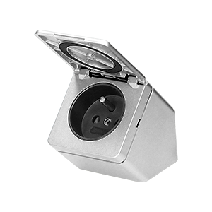 Furniture socket with a cover, IP44, silver