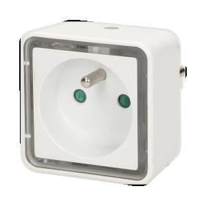 LED-Nachtlampe mit Steckdose 230V, quadratisch