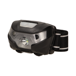 LED headlamp with touchless switch and USB charger