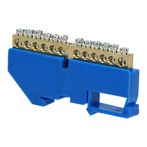 Neutral distribution busbar for TH35 rail, 12 cables, blue