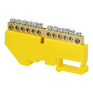 Grounding distribution busbar for TH35 rail, 12 cables, yellow