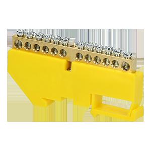 Listwa zaciskowa PE, na szynę TH35, 12 przewodów, żółta
