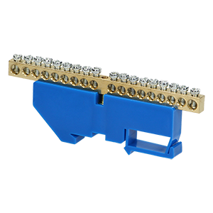Neutral distribution busbar for TH35 rail, 18 cables, blue