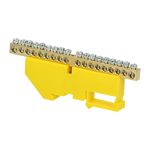 Grounding distribution busbar for TH35 rail, 18 cables, yellow