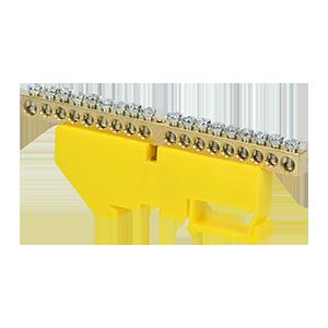 Listwa zaciskowa PE, na szynę TH35, 18 przewodów, żółta