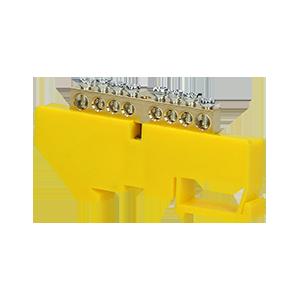 Listwa zaciskowa PE, na szynę TH35, 8 przewodów, żółta