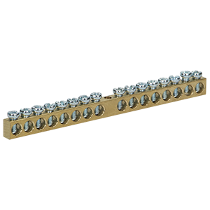 Non-insulated brass busbar, 16 cables