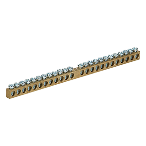 Non-insulated brass busbar, 24 cables