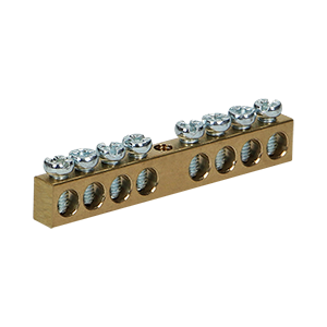 Non-insulated brass busbar, 8 cables