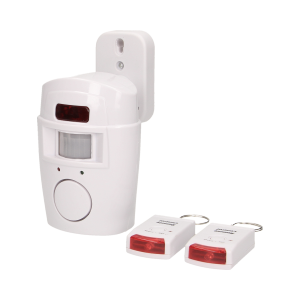 Wireless IR alarm with built-in siren and remote control