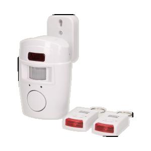 Alarm mit eingebauter Fernsteuersirene und Fernbedienung