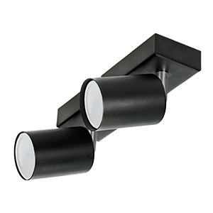 DOA SP 2l wall and ceiling light, GU10, max. 2x50W, IP20, black