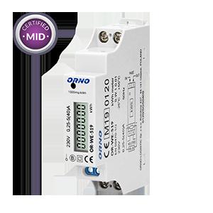 1-fazowy licznik energii elektrycznej, 40A, MID, wyjście impulsowe, 1 moduł, DIN TH-35mm