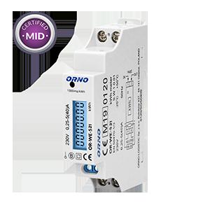 1-fazowy licznik energii elektrycznej, 40A, MID, wyjście impulsowe, podświetlenie, 1 moduł, DIN TH-35mm