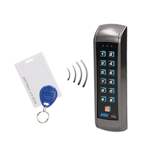 Code lock with card and proximity tags reader, IP55